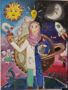 A drawing of a woman in a hijab wearing half scrubs and half an astronauts uniform. There are scientific symbols and pictures all around her